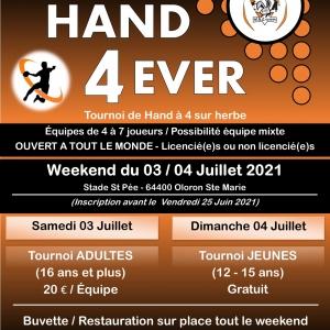Tournoi «Hand 4 Ever» le 03 et 04 Juillet 2021 à Oloron