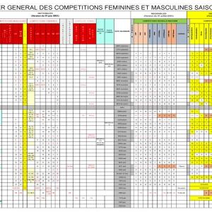 Calendrier général des compétitions 21-22